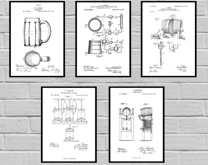 Featured listing image: Beer Patents SET of 5 Prints Beer Poster Beer Patent Beer Print Beer Art Beer Decor Beer Blueprint Beer Sign Beer Wall Art sp470