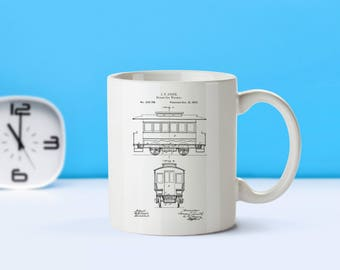 Street Car Warmer patent mug  coffee mug  coffee lover  patent art  patent mug Vintage Street Car DecorTransportationRailcarM38