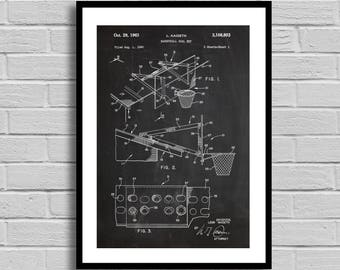 Basketball Goal Set Patent, Basketball Goal Poster, Basketball Goal Blueprint, Basketball Goal Print, Vintage Decor, Sports Gift, p424
