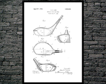 Golf Club Print, Golf Club Poster, Golf Driver Patent, Golf Club, Golf Club Art, Golf Club Decor, Golf Club Blueprint, Golf Club Wall SP142