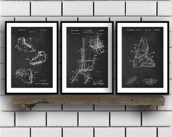 Skiing Related Patent Set of THREE, Ski Invention Patent, Ski Poster, Ski Print, Ski Patent, Skiing Inventions SP169