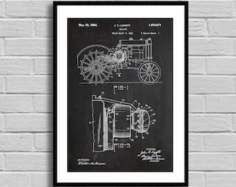 Tractor Patent, Tractor Patent Poster, Tractor Blueprint, Tractor Print, Farmer Gift, Vintage, Farm Decor, Farmhouse Decor, Home Decor p1167
