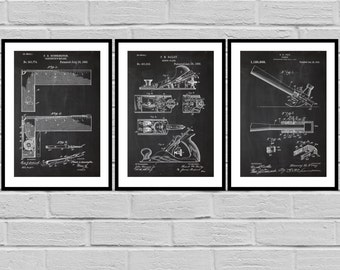 Wood working Patent Prints Set of THREE, Wood working Tools Patents, Tools, Carpenter tool Inventions, Wood working Decor, Mancave SP419