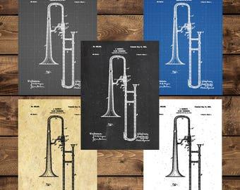 INSTANT DOWNLOAD - Trombine Poster, Slide Trombone Print, Slide Trombone Patent, Slide Trombone Art, Slide Trombone Blueprint, Musical Decor