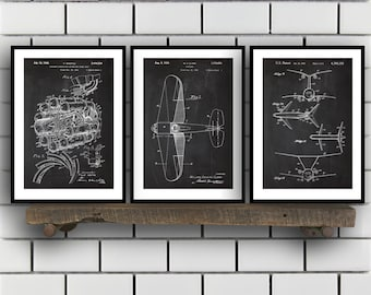 Airplane Patent, Airplane poster Set of THREE, Airplane Invention Patent, Airplane Poster, Airplane Print, Airplane Inventions SP225