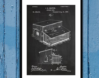 Chicken Coop Patent Chicken Coop Poster Chicken Coop Blueprint Chicken Coop Print Chicken Coop Art Chicken Coop Decor p494
