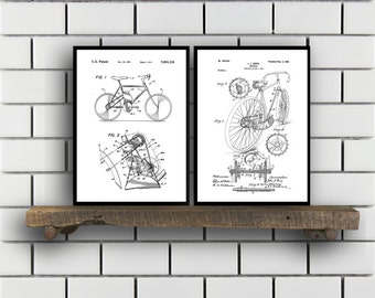 Bicycle Patent Bicycle Set of TWO Bicycle Invention Patent Bicycle Poster Bicycle Print Bicycle Inventions SP252