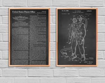 Diver's Suit patent Nautical Decor Scuba Diving Art Vintage collectible Set of 2 Home Decor Diver Gift Ocean Patent Art Diving Diving 2P31