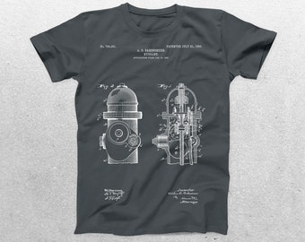 Fire Hydrant Patent T-Shirt, Fire Hydrant Blueprint, Patent Print T-Shirt, Fireman Shirt, Firefighter T-Shirt p562