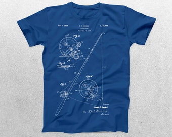 Fishing Reel Patent T-Shirt, Fishing Reel Blueprint, Patent Print T-Shirt, Fishermen Shirt, Fishing Reel Shirt p785