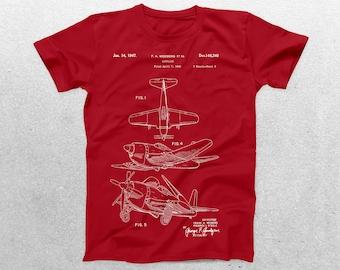 Airplane Patent T-Shirt, Airplane Blueprint, Patent Print T-Shirt, Vintage Aircraft Shirt, Aircraft T-Shirt, Pilot Gifts p362