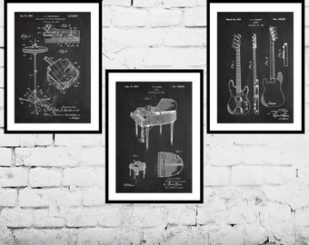 Music poster, Music art set of 3, High hat cymbal, piano, and fender bass guitar sp527