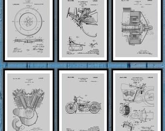 Harley Davidson Patent Print Set Of 6, Harley Davidson Poster, motorcycle prints, Harley Poster,Harley Davidson Motorcycle, Harley sp08