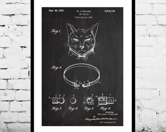 Cat Collar Patent Cat Collar Poster Cat Collar Blueprint  Cat Collar Print Cat Collar Art Cat Collar Decor p493