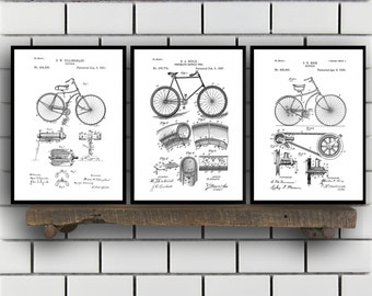 Bicycle Patent, Bicycle Set of THREE, Bicycle Invention Patent, Bicycle Poster, Bicycle Print, Bicycle Inventions SP254