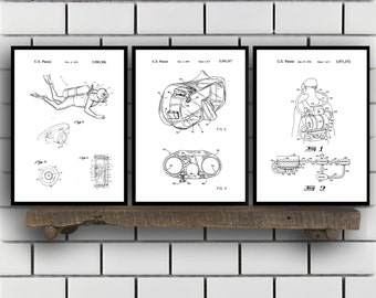 Scuba Related Patent Set of THREE, Scuba Invention Patent, Scuba Poster, Scuba Print, Scuba Patent, Scuba Inventions, Diving SP367