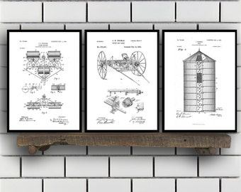 Farm Related Patent Set of THREE, Farm Invention Patent, Farm Poster, Farm Print, Farm Patent, Farm Inventions SP178