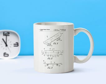 Skateboard patent mug  coffee mug  coffee lover  patent art  patent mug Skateboarder Gift Skateboarding Skateboard CollectibleM66