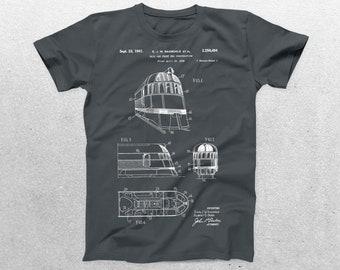Rail Car Patent T-Shirt, Rail CarBlueprint, Patent Print T-Shirt, Vintage Train Shirt, Vintage Train, Locomotive T-Shirt p1397