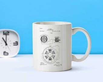 Tesla Alternating Motor patent mug  coffee mug  coffee lover  patent art  patent mug  Science Gifts Nikola Tesla Electric MotorM143 SP1003