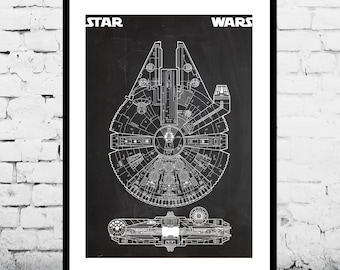 Star Wars Millennium Falcon Star Wars Poster Geek Decor Patent Print Poster Wall Decor May the 4th p1421