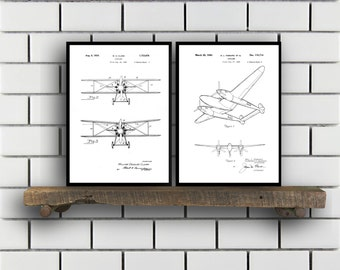 Airplane Patent Airplane poster Set of TWO Airplane Invention Patent Airplane Poster Airplane Print Airplane Inventions SP223