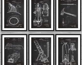 Firefighter Patent Set of 6, Firefighter Poster, Firefighter Art, Firefighter Decor, Firefighter Wall Art, Firefighter Blueprint, SP507