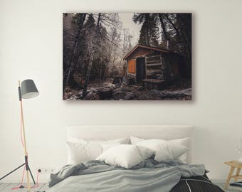 Cabin Print Large Wall Art Print Cabin porn Fine Art Photography Print Nature Photography Neutral Wall Decor Cabin Forest PH040