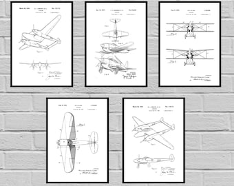 Airplane Patent SET of 5 Aircraft Poster Airplane Art Aviation Decor Airplane Wall Art Airplane Blueprint Aviation gifts Pilot sp420