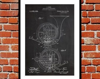 French Horn Patent, French Horn Design, French Horn Wall Art, Brass Instrument Decor, Brass Instrument Wall Art p803