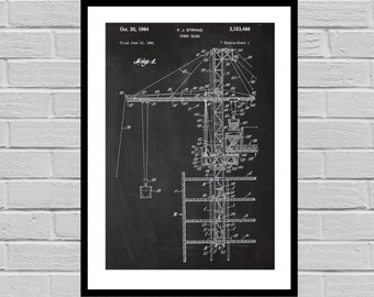 Construction Patents Tower Crane Poster Tower Crane Patent Tower Crane Print Tower Crane Construction worker p1353