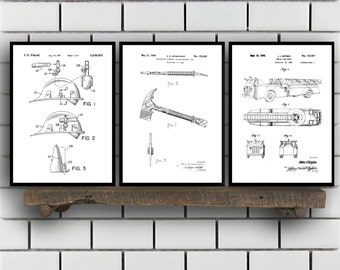 Fire fighter Patent Prints, Fire fighter Set of THREE, vintage Firefighter Invention Patent, Firefighter Poster, Firefighter Print SP280