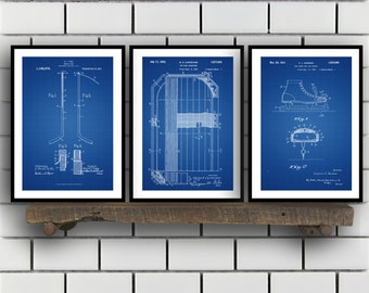 Hockey Patent Poster, Group of 3, Hockey puck, Hockey net, Zamboni, Hockey Puck, Hockey Wall Art, Hockey wall decor, NHL fan art SP03