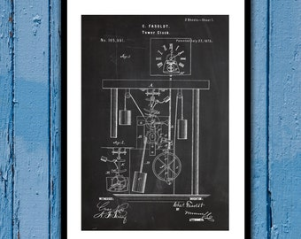 Clock Tower Patent Clock Tower Poster Clock Tower Blueprint Clock Tower Print Clock Tower Art Clock Tower Decor p499