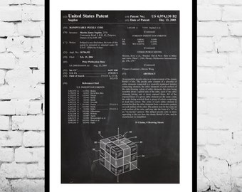 Patent Print - Rubik's Cube Patent Art Poster, Rubik's Cube art, Rubik's Cube poster, Rubik's Cube Print p1207