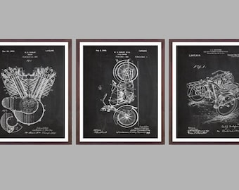 Harley Davidson Posters Set of 3 - motorcycle flywheel - Harley Clutch - Harley Davidson Motorcycle - Harley Engine - Motorcycle sp513