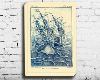 Octopus Canvas Octopus Wall Canvas Kraken Illustration Beach House Art Nautical Decor Squid Picture Giclee Print Octopus Poster