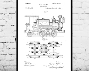 Locomotive Print Locomotive Poster Locomotive Patent Locomotive Art Locomotive Blueprint Locomotive Wall Art Train Decor p196