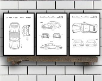 Porsche Patent Set of THREE, Porsche Patent Art - Porsche Art - Porsche Poster - Porsche Wall Art , Porsche, Porsche SP163