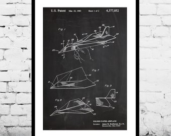 Paper Airplane Poster Paper Airplane Art Paper Airplane Print Paper Airplane Patent Airplane Decor Paper Airplane Wall Art p225