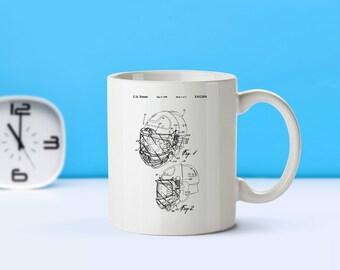 Hockey Helmet patent mug  coffee mug  coffee lover  patent art  patent mug  Hockey Decor Sports Decor Hockey Gift Coach GiftM220