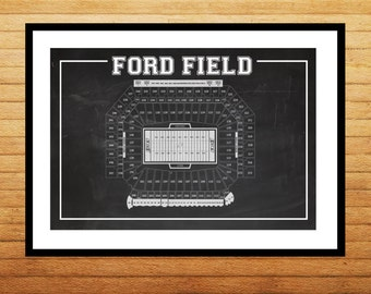 Ford Field Seating Chart Patent Print Ford Field Seating Chart Poster Ford Field Seating Chart Blueprint Detroit Lions Decor p575