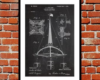 Floating Lighthouse Patent Floating Lighthouse Poster Lighthouse Blueprint  Lighthouse Print Lighthouse Art Lighthouse Decor SP372