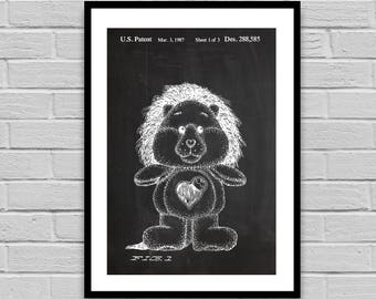 Brave Heart Lion Patent Care Bear Patent Poster Care Bear Blueprint Care Bear Print Collector's decor Kid's Decor p1303