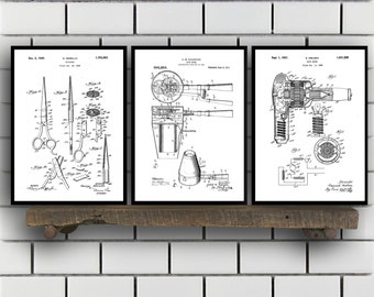 Hair Related Patent Set of THREE, Hair Invention Patent, Hair Poster, Hair Print, Hair Patent, Hair Inventions SP183