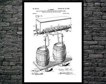 Beer Kegs Beer Poster Beer Patent Beer Print Beer Art Beer Decor Beer Blueprint Beer Sign Beer Wall Art p972