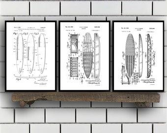 Surfing Related Patent Set of THREE, Surfing Invention Patent, Wetsuit Poster, Surfboard Print, Surf Patent, Surf Inventions SP138