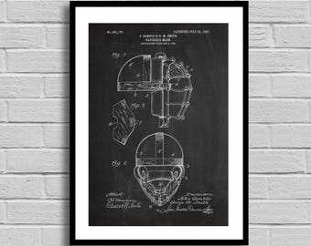Catcher's Mask Patent, Baseball Catcher's Mask Patent Poster, Baseball Catcher's Mask Blueprint, Catcher's Mask Print, Baseball Decor p756