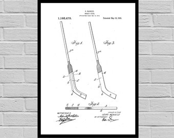 Goalie Hockey Stick Poster, Hockey Stick Patent, Hockey Stick Print, Hockey Stick Art, Hockey Art, Hockey Patent, Gift for him, Dorm p808