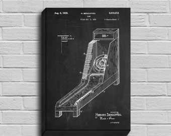 CANVAS  Skee Ball Patent Skee Ball Arcade Game Poster Skee Ball Blueprint Skee Ball Print Skee Ball Art Skee Ball Decor p266